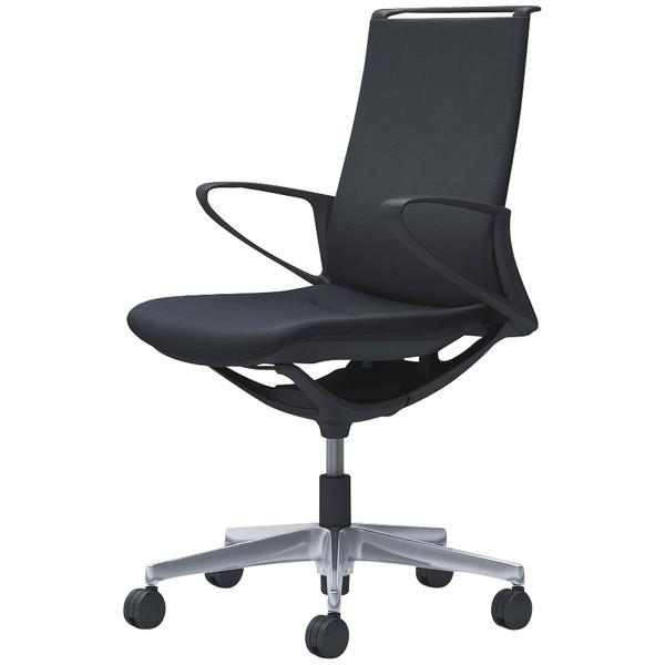 上質な仕立ての内に技術を秘める、新しい空間に似合う、新しいスタイルのmodeチェア。背もたれを極限まで薄く見せるインナーメッシュ構造は、メッシュチェアのようなやさしく包み込まれる座り心地と優れた通気性を実現。スマートスライドオペレーションでレバーを集約してシンプルにまとめた操作部は、座ったままの自然な姿勢で全ての操作を可能にしました。高度な樹脂成型技術による優美な曲線を描くアーム。