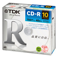 TDK CD-R700MB 5mmケース CD-R80PWDX10E-ASK 1箱(10パック100枚)