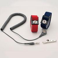 ミドリ安全 リストストラップ M-WS2AP 1セット(リストバンド、コード) アジャスタブル ブルー 1セット(リストバンド、コード)(直送品)