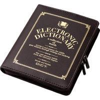 エレコム 電子辞書ケース/フルカバータイプ/デザイン/Lサイズ/ブラウン DJC-021LBR 1個 (直送品)