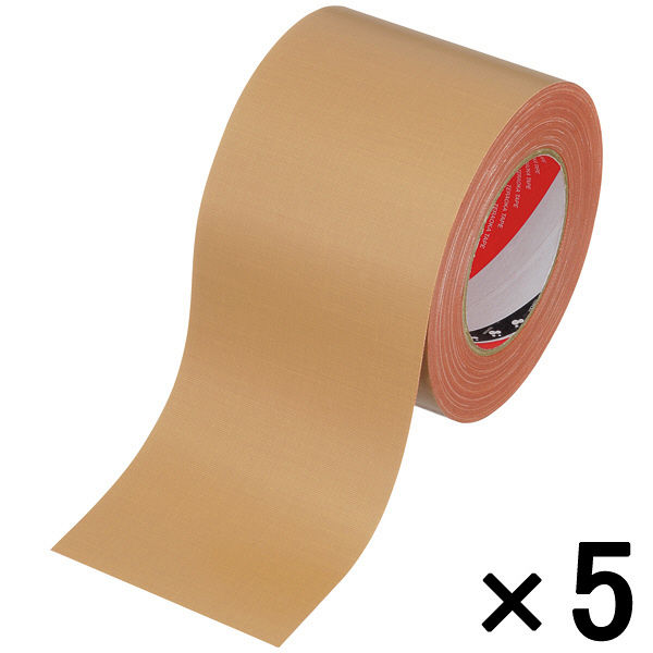 オリーブテープ No.141 0.37mm厚 100mm×25m巻 茶 1セット(5巻:1巻×5) 寺岡製作所