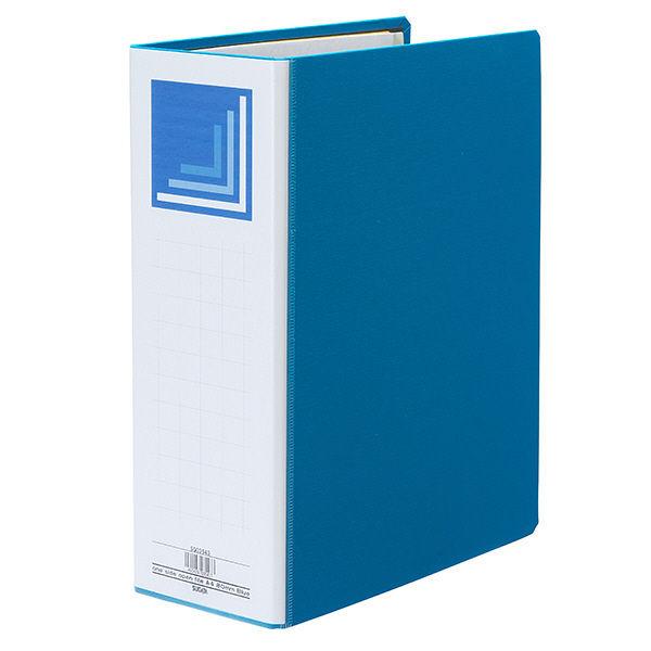 ハピラ 片開きパイプ式ファイル A4タテ とじ厚80mm ブルー