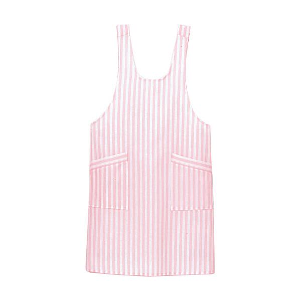 ストライプエプロン ピンク
