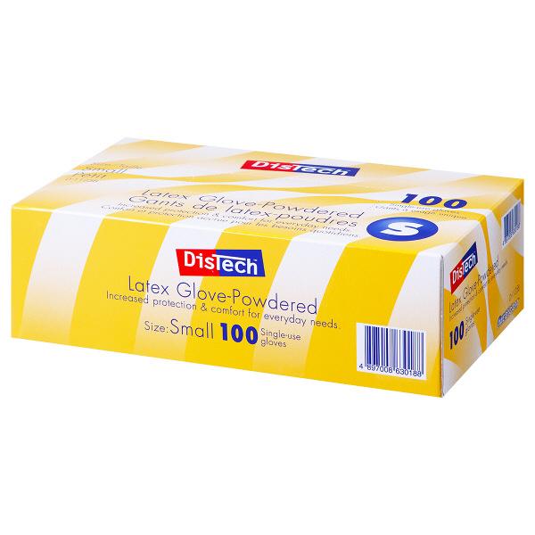 メディコムジャパン ディステック ラテックスグローブ パウダーイン Sサイズ D-1125B 1箱(100枚入)(使い捨てグローブ)