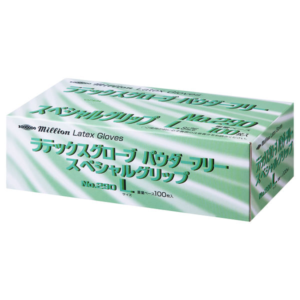 共和 ミリオン ラテックスグローブ NO.290 L 粉なし(パウダーフリー) LH-M667-L 1箱(100枚入) (使い捨て手袋)