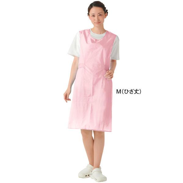 KAZEN 入浴用エプロン(入浴介助用エプロン) ピンク M (ひざ丈 ショート丈)