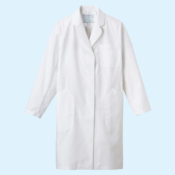 ナガイレーベン 女子シングル診察衣 ハーフ丈 (ドクターコート) 長袖 ホワイト LL EM-3035 (取寄品)
