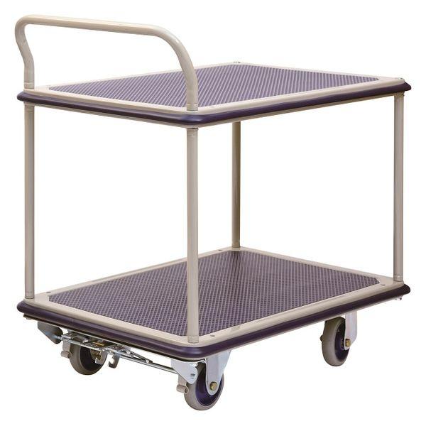 金沢車輌 スチール2段台車 フットブレーキ付 300kg荷重 NHT-304+FB 1台 (直送品)