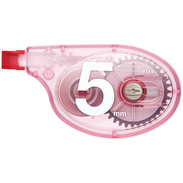 修正テープ アスクル×トンボ鉛筆 幅5mm×15m レッド 30個 CT-YTA5AS