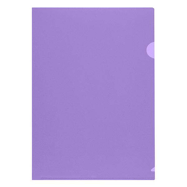 プラス 高透明カラークリアホルダー A4 パープル 1袋(100枚)
