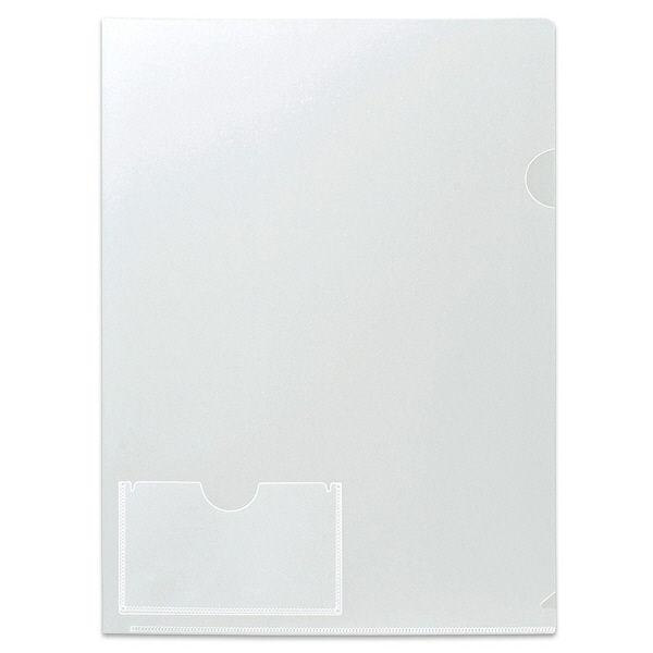 プラス カード(名刺)ポケット付きクリアーホルダー A4 88146 1箱(100枚:10枚入×10袋)