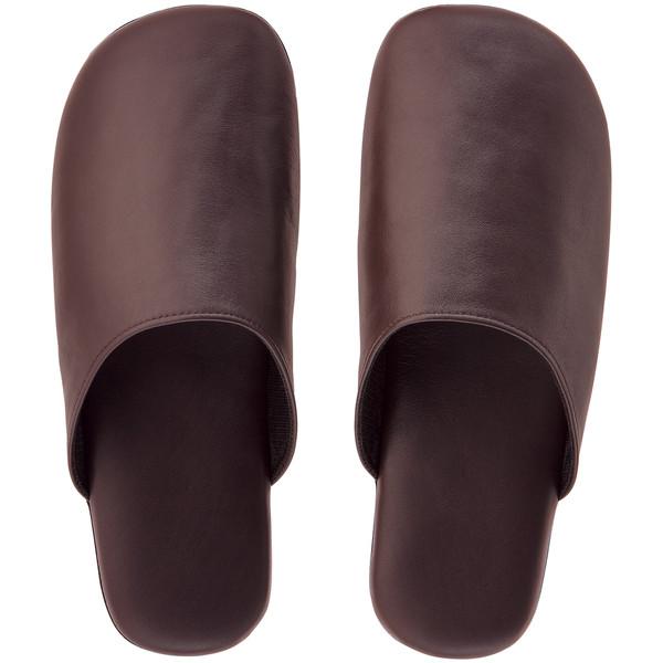 革袋縫いスリッパ M ブラウン 3足
