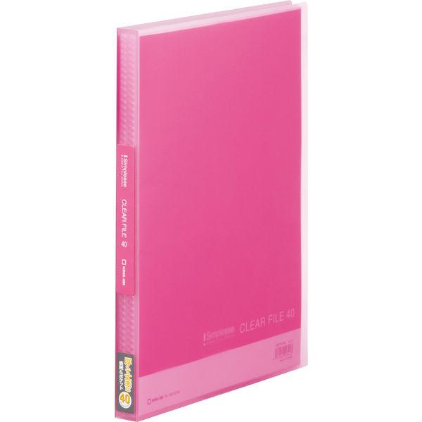 キングジム シンプリーズ クリアーファイル(透明) ピンク A4タテ 40ポケット 186TSPWヒン 1セット(24冊:8冊入×3箱)