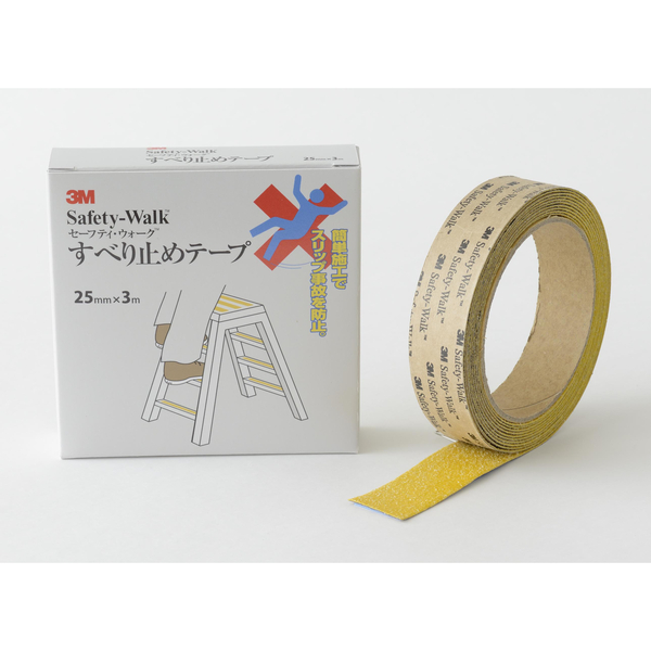 スリーエム セーフティ・ウォークすべり止めテープ タイプA 黄 25mm×3m A YEL 25X3 1セット(5巻:1巻×5)
