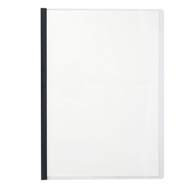 アスクル レール式クリアーホルダー A4タテ 10枚とじ ブラック 120冊