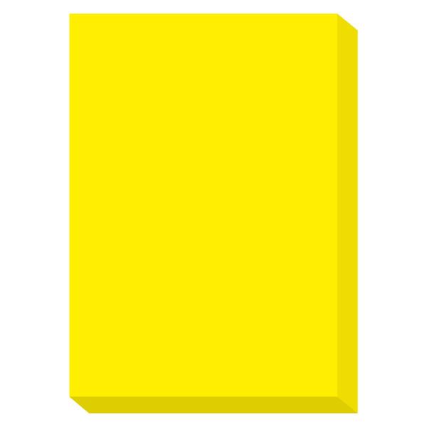 カラーペーパー ルシオライト 中厚口 蛍光イエロー A4サイズ 1冊(250枚入)