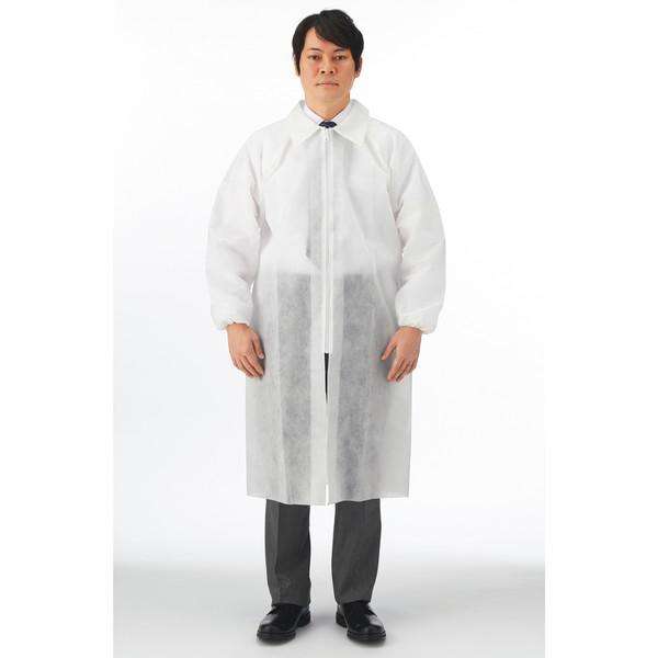 川西工業 使いきり不織布白衣 ホワイト LL #7028 1セット(50着)