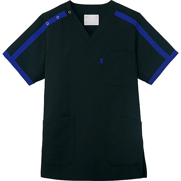 ミズノ ユナイト スクラブ(男女兼用) ブラックブルー SS MZ0090 医療白衣 1枚 (取寄品)