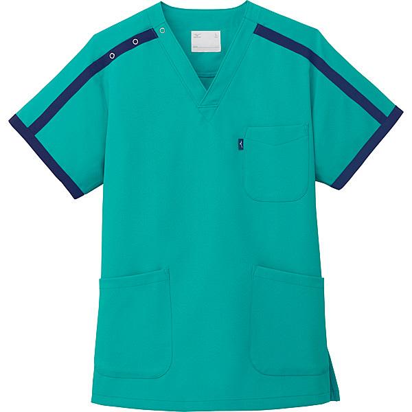 ミズノ ユナイト スクラブ(男女兼用) エメラルドグリーン M MZ0090 医療白衣 1枚 (取寄品)