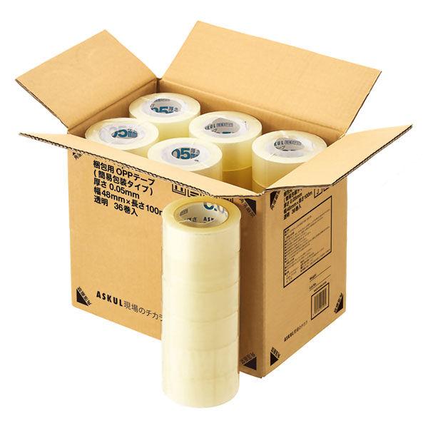 「現場のチカラ」OPPテープ 簡易包装タイプ 0.05mm厚 100m巻 1セット(180巻:36巻入×5箱) アスクル