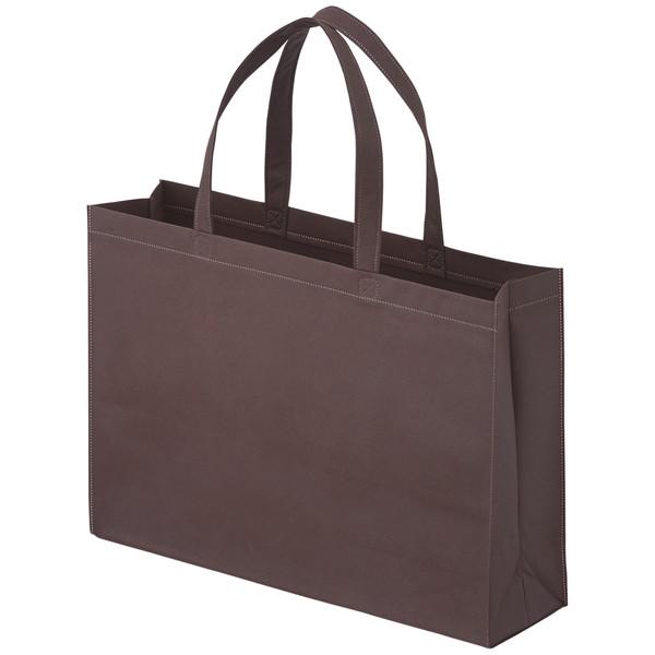 不織布ライトバッグ 横タイプ 平紐 茶 中 1セット(50枚:10枚入×5袋) サンナップ