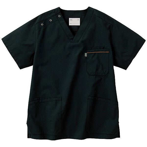 ミズノ ユナイト スクラブ(男女兼用) ブラック 5L MZ0018 医療白衣 1枚 (取寄品)