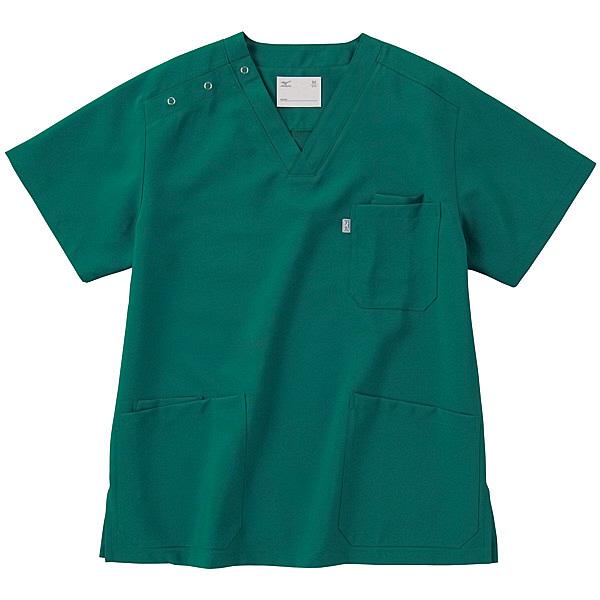 ミズノ ユナイト スクラブ(男女兼用) ダークグリーン L MZ0021 医療白衣 1枚 (取寄品)