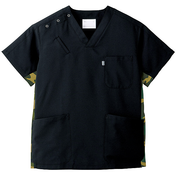 ミズノ ユナイト スクラブ(男女兼用) ブラック S MZ0053 医療白衣 1枚 (取寄品)