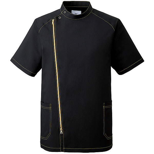 ミズノ ユナイト ジャケット(男性用) ブラック×ゴールド S MZ0066 医療白衣 1枚 (取寄品)
