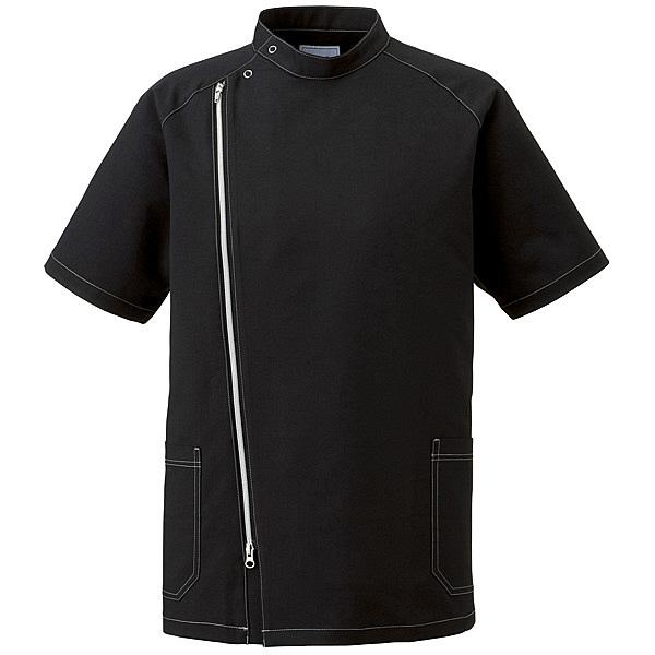 ミズノ ユナイト ジャケット(男性用) ブラック×シルバー LL MZ0066 医療白衣 1枚 (取寄品)