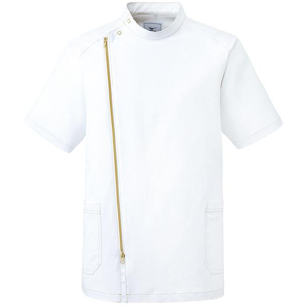 ミズノ ユナイト ジャケット(男性用) ホワイト×ゴールド S MZ0066 医療白衣 1枚 (取寄品)