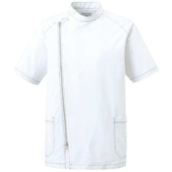 ミズノ ユナイト ジャケット(男性用) ホワイト×シルバー S MZ0066 医療白衣 1枚 (取寄品)