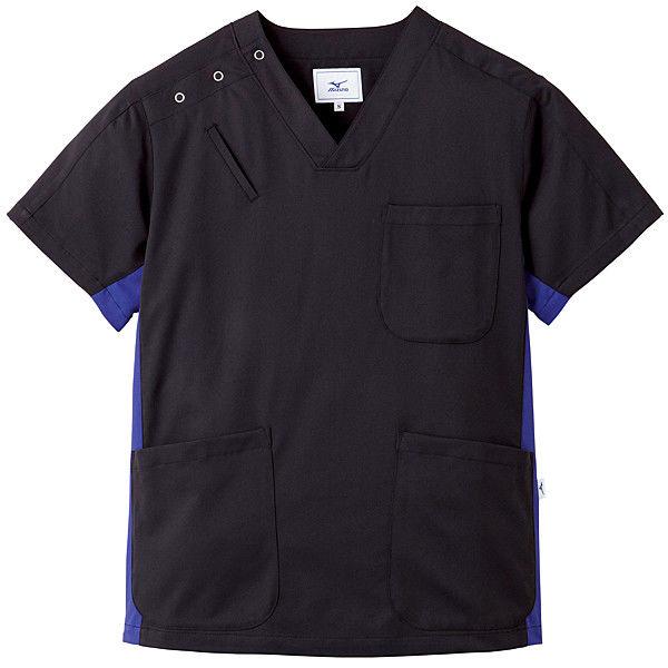 ミズノ ユナイト スクラブ(男女兼用) ブラック×ネイビー 3L MZ0073 医療白衣 1枚 (取寄品)