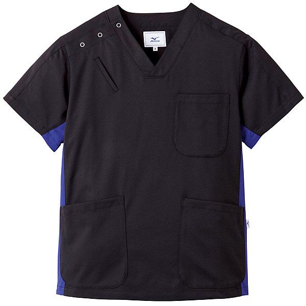ミズノ ユナイト スクラブ(男女兼用) ブラック×ネイビー L MZ0073 医療白衣 1枚 (取寄品)