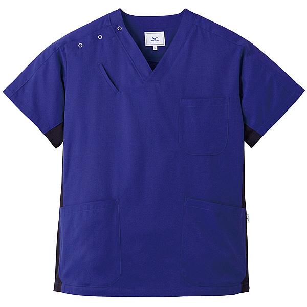 ミズノ ユナイト スクラブ(男女兼用) ネイビー×ブラック L MZ0073 医療白衣 1枚 (取寄品)