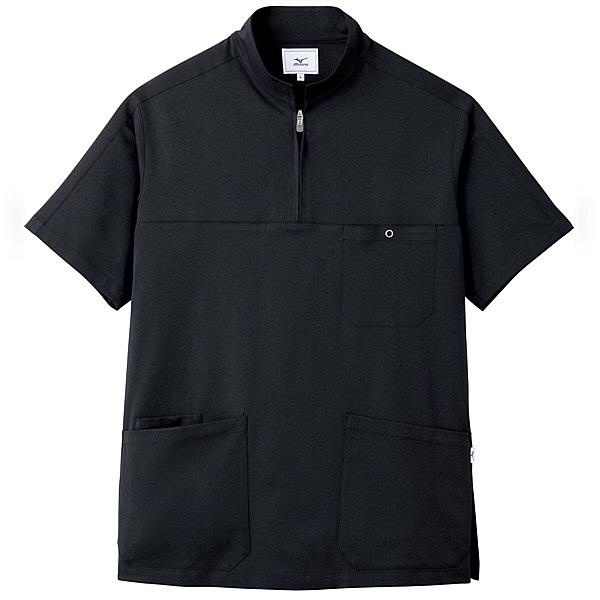 ミズノ ユナイト スクラブ(男性用) ブラック LL MZ0076 医療白衣 メンズスクラブ 1枚 (取寄品)
