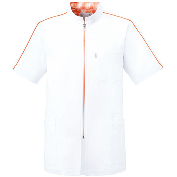 ミズノ ユナイト ケーシージャケット(男性用) ホワイト×オレンジ LL MZ0080 医療白衣 1枚 (取寄品)