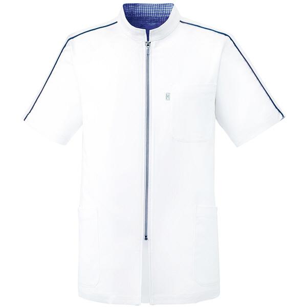 ミズノ ユナイト ケーシージャケット(男性用) ホワイト×ネイビー M MZ0080 医療白衣 1枚 (取寄品)