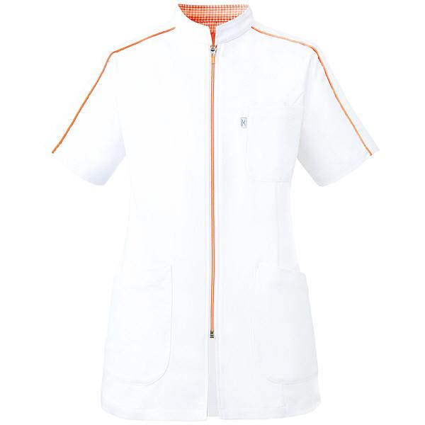 ミズノ ユナイト ケーシージャケット(女性用) ホワイト×オレンジ L MZ0081 医療白衣 ナースジャケット 1枚 (取寄品)