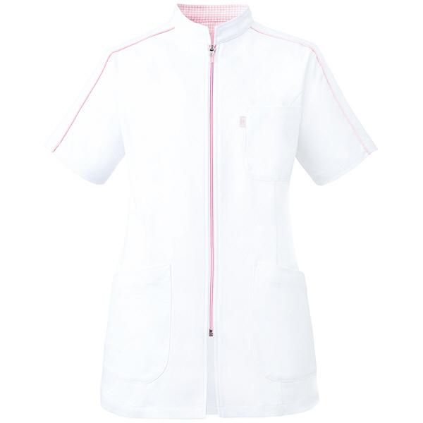 ミズノ ユナイト ケーシージャケット(女性用) ホワイト×ピンク 3L MZ0081 医療白衣 ナースジャケット 1枚 (取寄品)