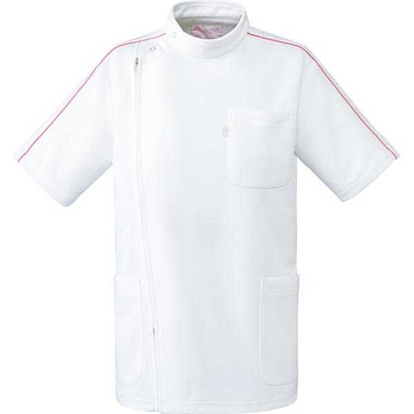 ミズノ ユナイト ケーシージャケット(男女兼用) ホワイト×ピンク LL MZ0097 医療白衣 1枚 (取寄品)