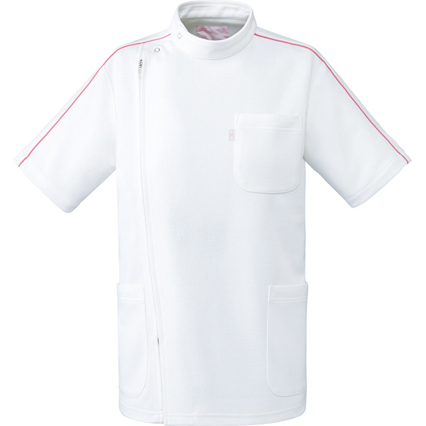 ミズノ ユナイト ケーシージャケット(男女兼用) ホワイト×ピンク M MZ0097 医療白衣 1枚 (取寄品)