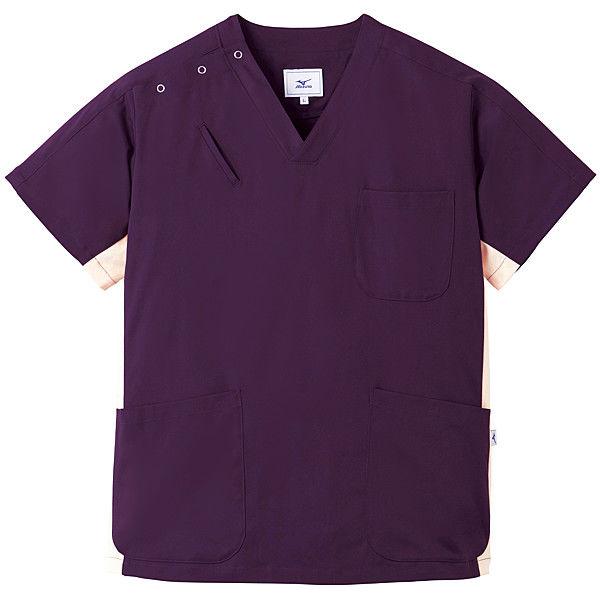 ミズノ ユナイト スクラブ(男女兼用) プラム×クリーム 3L MZ0073 医療白衣 1枚 (取寄品)
