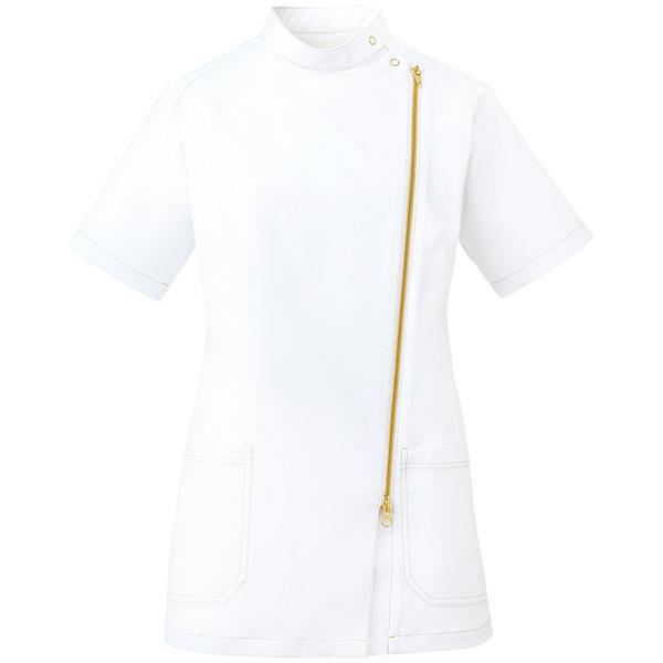 ミズノ ユナイト ジャケット(女性用) ホワイト×ゴールド L MZ0089 医療白衣 ナースジャケット 1枚 (取寄品)