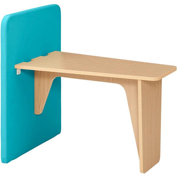 プラス ハイバックパネルソファ ユニットテーブル ターコイズブルー 1台(2梱包) (取寄品)