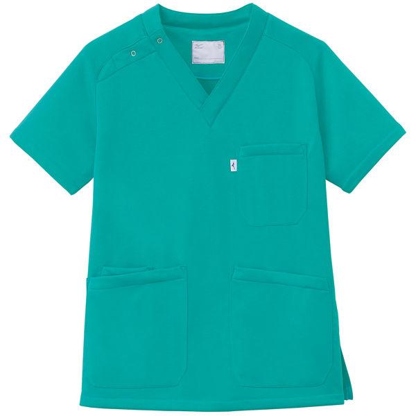 ミズノ ユナイト ニットスクラブ(男女兼用) エメラルドグリーン S MZ0084 医療白衣 1枚 (取寄品)