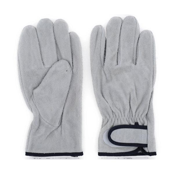 プロワーク 牛床皮手袋マジック付 M QC-310 1袋(1双入)