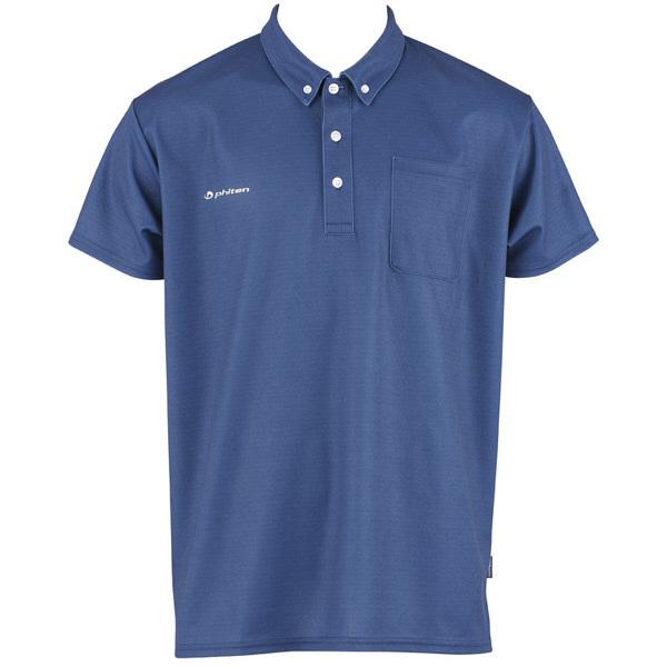フットマーク×ファイテン 介護ウェア ボタンダウンシャツ ネイビー S (取寄品)