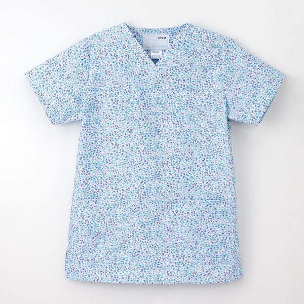 ナガイレーベン 白衣 レディススクラブ LBS-4337 ブルー EL 1枚 (取寄品)