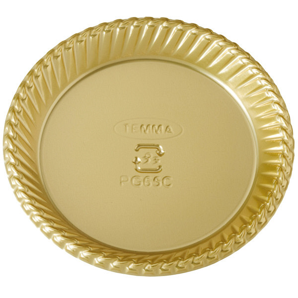 天満紙器 PG65C PETゴールドトレー丸型 金 4499053 1箱(500枚入) (取寄品)